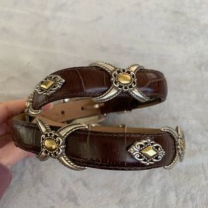 Brighton 2 Tone Leather Belt Slide Silver Accents